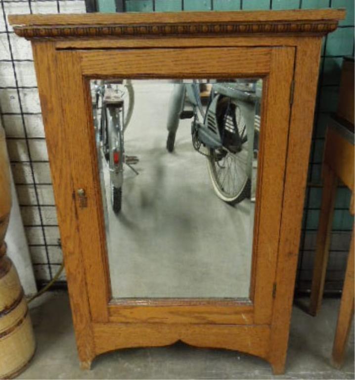 Oak Single Door Mirrored Cabinet