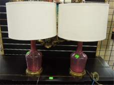 Pr Cranberry Glass Bottles