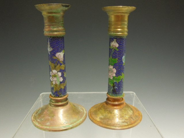 Pair Chinese Cloisonne Candlesticks