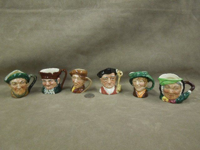 6 Royal Doulton Mini Toby Mugs