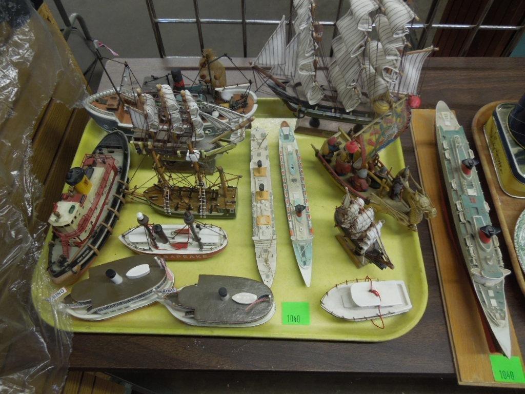 14 Wood Plastic & Metal Ship Models Lot