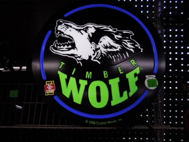 Timber Wolf Tobacco Ad Sign