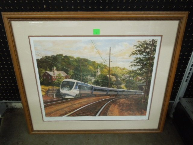Framed Amtrak print X2000 rounds the curve