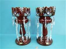 Pr Victorian Ruby Glass Lustres