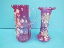 2 Pcs Enameled Cranberry Glass