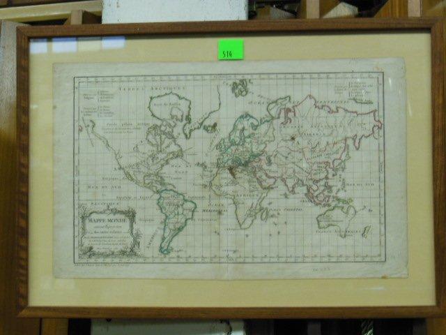 1761 Vaugondy French World Map