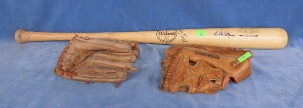 Rich Allen signed Baseball Bat w/ gloves