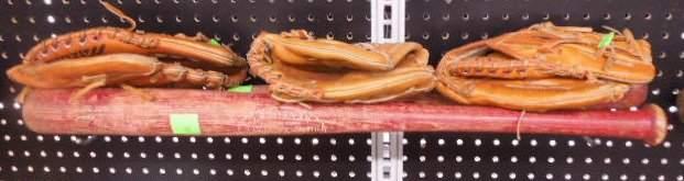 2 Pete Rose autograph model bats and gloves