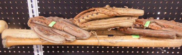3 Willie Mays baseball bats and gloves