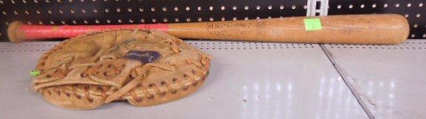 Yogi Berra baseball bat and Catchers mitt