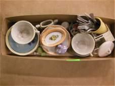Porcelain Miniature Tea Set & Doll Furniture.