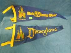 2 Vintage Disney Theme park pennants