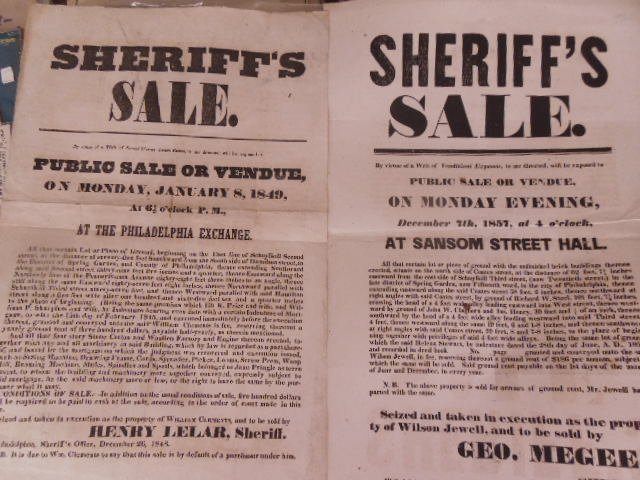 2 19th c Sheriff Sale posters