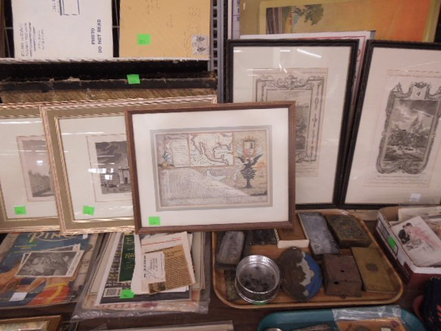 5 Framed Engravings and Map