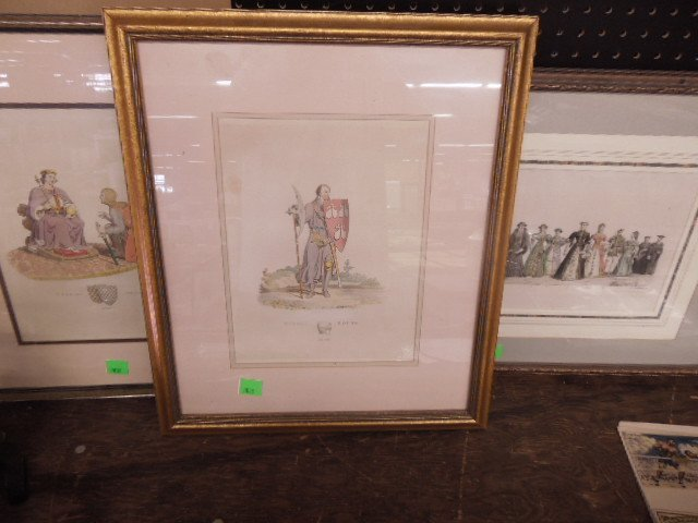 3 Framed English color engravings