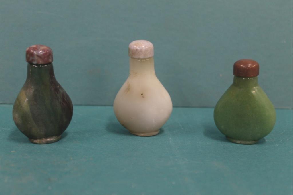 Three Chinese Jade Snuff Bottles