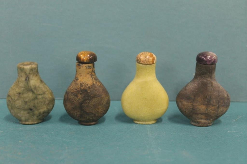 Four Chinese Hard Stone Snuff Bottles