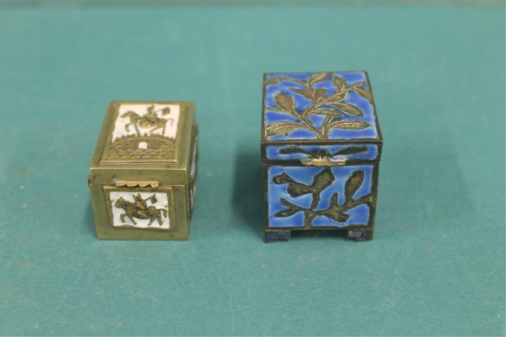 Chinese Brass, Silver & Enamel Stamp Boxes