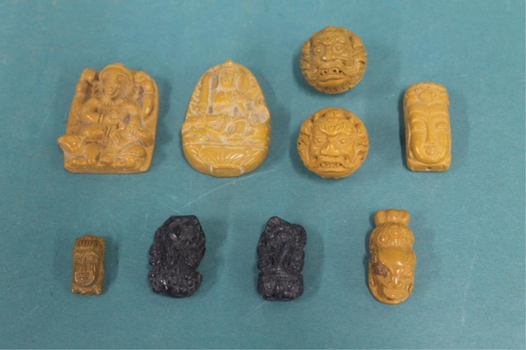 Seven Chinese Hard Stone Beads & Pendants