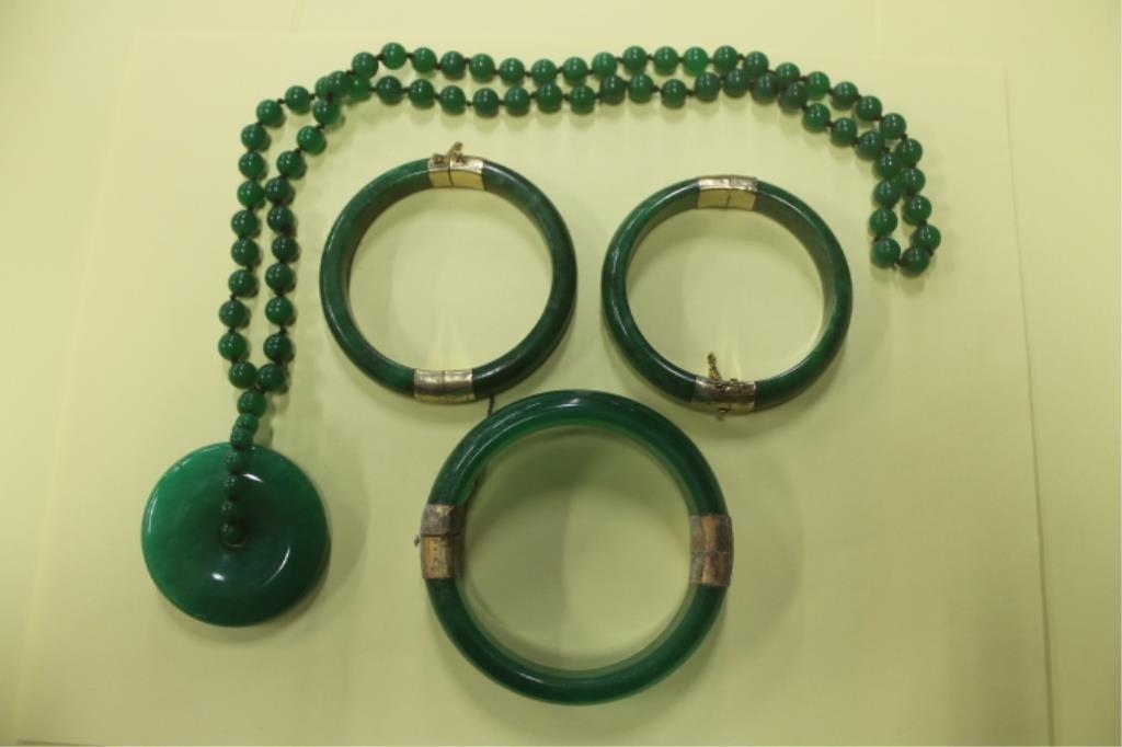 Chinese Jade Bangle Bracelets & Necklace
