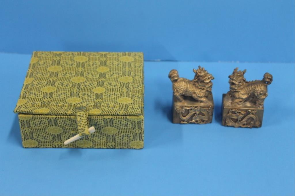 Chinese Brass Foo Dog Seals