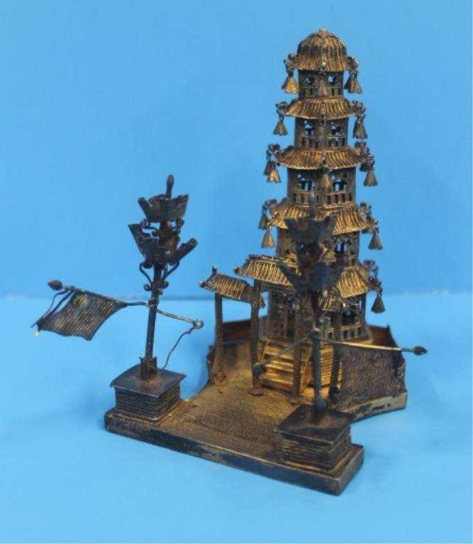 Antique Chinese Silver Pagoda Stand