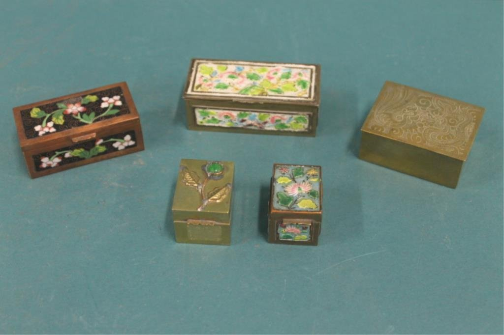 Five Antique Chinese Metal Stamp Boxes