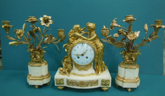 19th c. French Bronze & Marble Clock Set