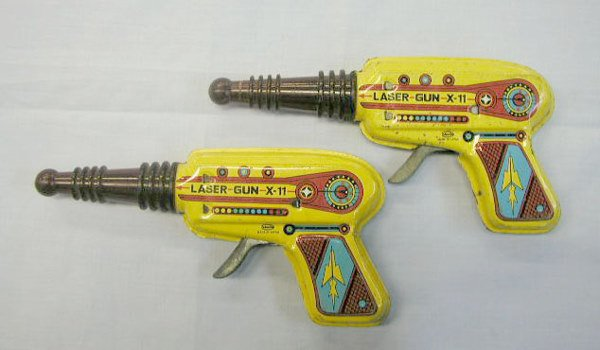 "1022: 2 - 60's tin friction ""Laser Gun X-11"" guns"
