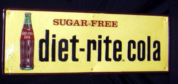 2001: 50's Diet-Rite cola tin display sign