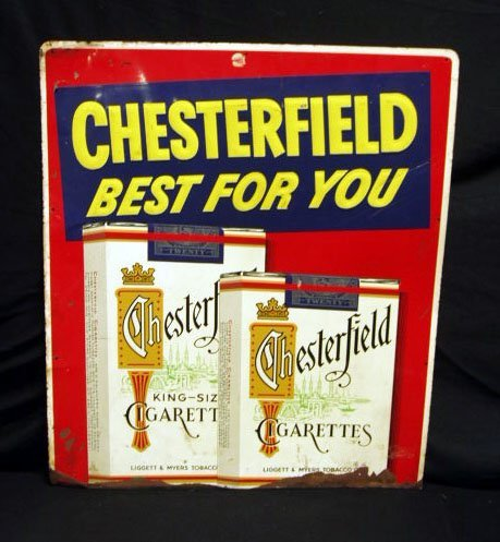 2003: 40's Chesterfield cigarettes tin display sign