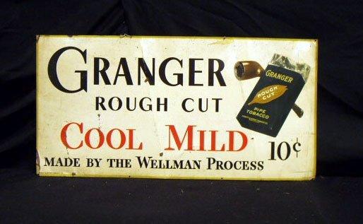 2004: 40's Granger tobacco tin advertising sign