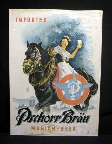 2007: 60's Pschorr Brav Munich Beer advertising poster