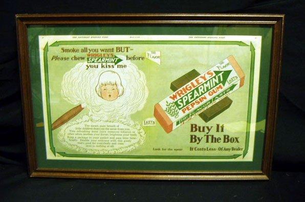 2014: 1913 Wrigley's Gum Sat. Eve. Post advertisment