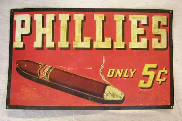2017: 50's Phillies Cigars tin display sign