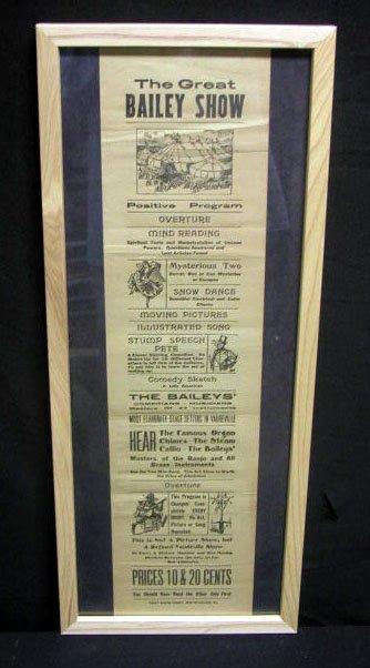 2023: Early 20th c. Great Bailey Show adv. broadside