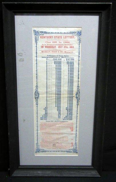 2024: 1864 Kentucky State Lottery broadside