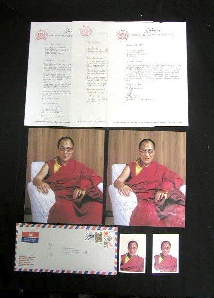 2062: 4 Dali Lama signed color photos