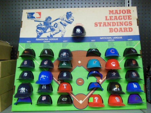 Miniature Plastic MLB Helmets display