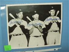 Signed Dimaggio, Mantle & Williams group photo