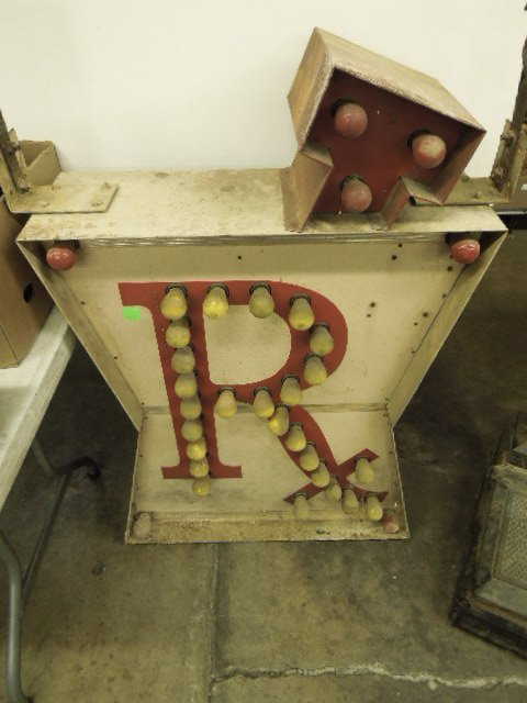 Vintage hanging lighted outdoor Rx sign