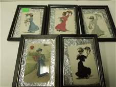 5 Vintage framed Ivy League cards