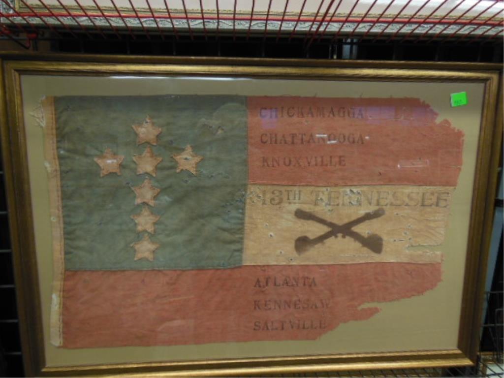 Framed Civil War veterans UCV flag, 13th Tennessee