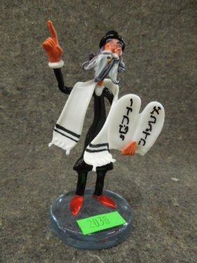 Glass Rabbi Wearing Tallit & Holding Commandments
