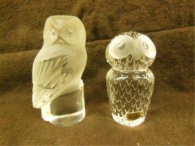 Lalique & Kosta Crystal Figurines Owls
