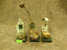 3 Hanzelka Brass, Lava And Copper Sculptures