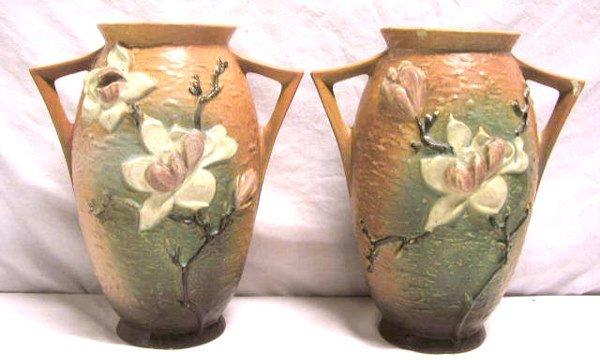 "4010: Pr. Roseville pottery vases ""Magnolia"""