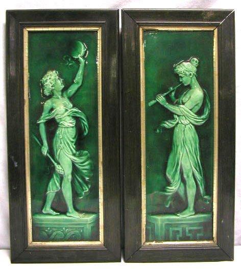 4017: Pr Amer. Encaustic Tiling Co. pottery plaques