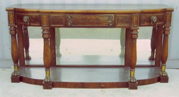 4144: Regency style mahogany console table, tripartite