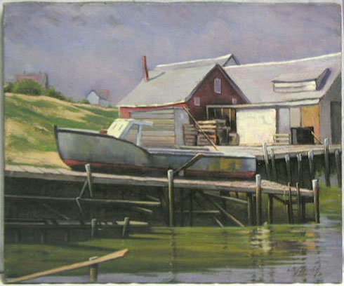 5003: Hans Jacoby oil on canvas, lobster boat